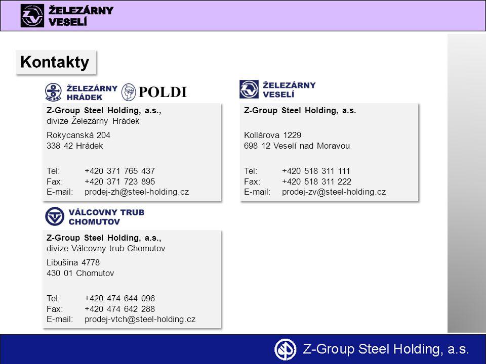 Kontakty Z-Group Steel Holding, a.s., divize Železárny Hrádek