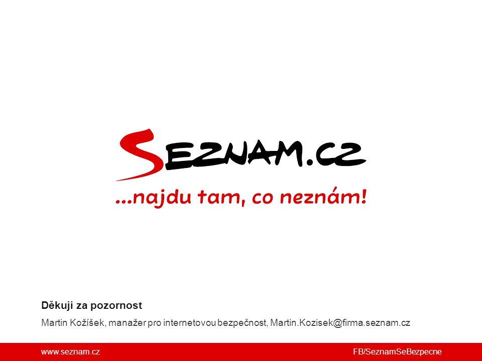 Děkuji za pozornost Martin Kožíšek, manažer pro internetovou bezpečnost, Martin.Kozisek@firma.seznam.cz.