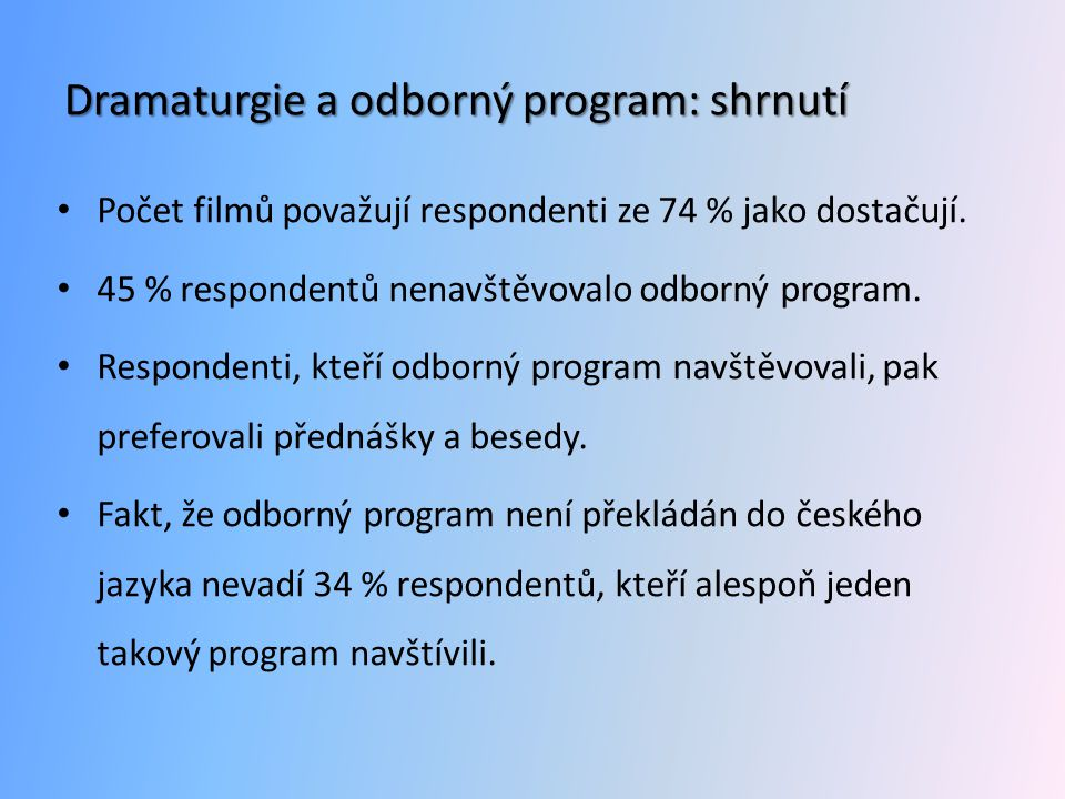 Dramaturgie a odborný program: shrnutí