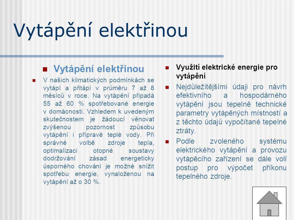 Vytápění elektřinou Vytápění elektřinou
