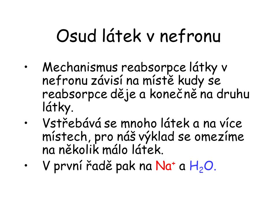 Osud látek v nefronu Mechanismus reabsorpce látky v nefronu závisí na místě kudy se reabsorpce děje a konečně na druhu látky.