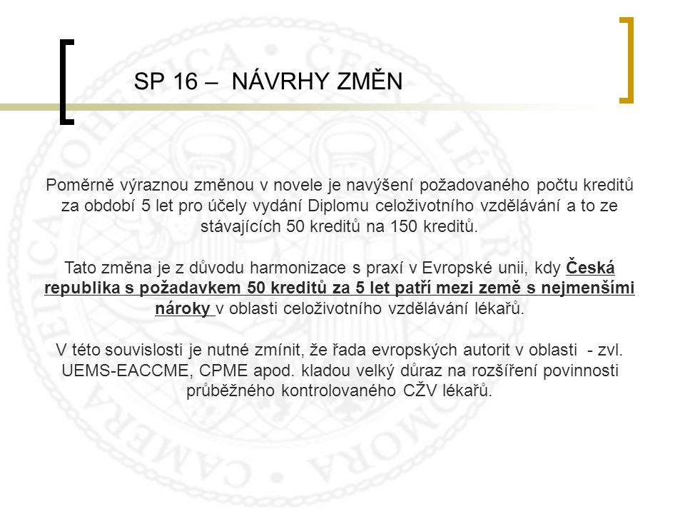 SP 16 – NÁVRHY ZMĚN