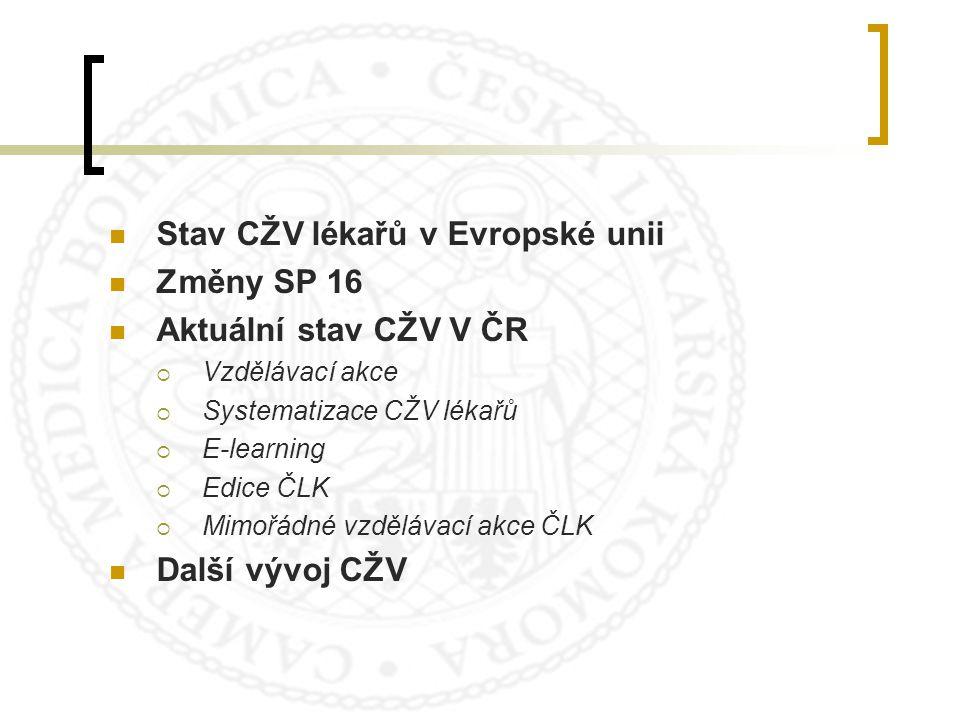 Stav CŽV lékařů v Evropské unii Změny SP 16 Aktuální stav CŽV V ČR