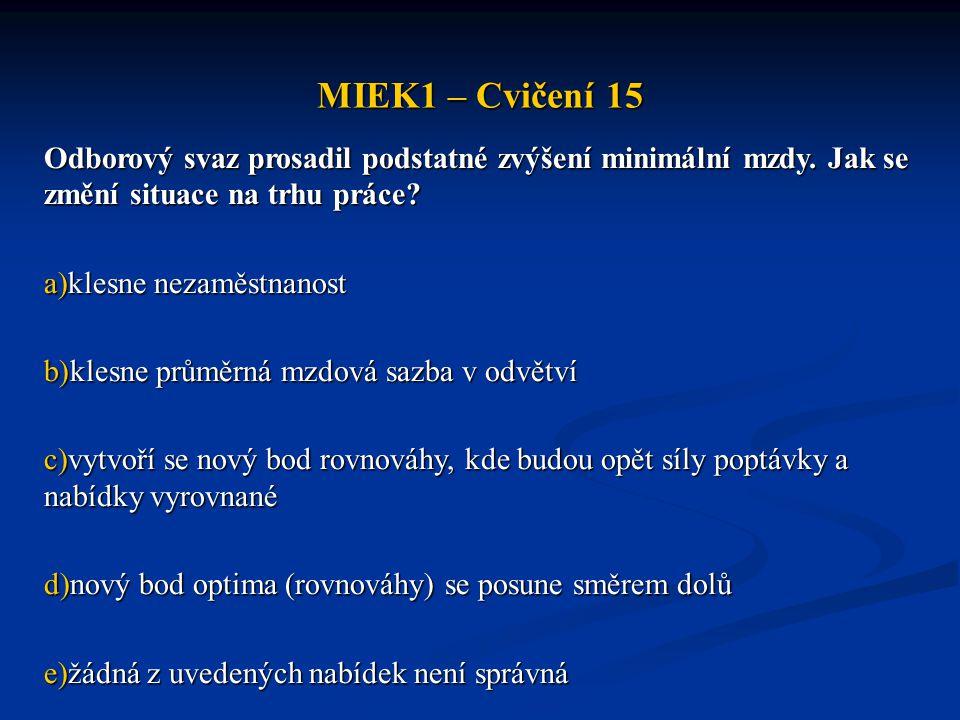 MIEK1 – Cvičení 15 Odborový svaz prosadil podstatné zvýšení minimální mzdy. Jak se změní situace na trhu práce