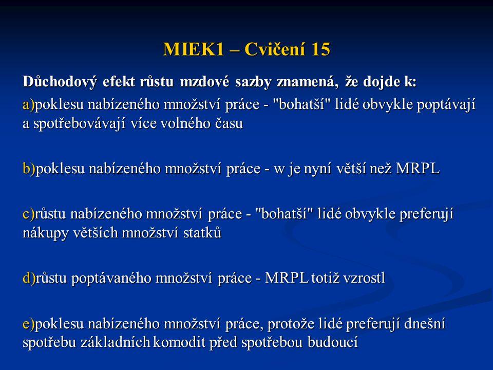 MIEK1 – Cvičení 15 Důchodový efekt růstu mzdové sazby znamená, že dojde k: