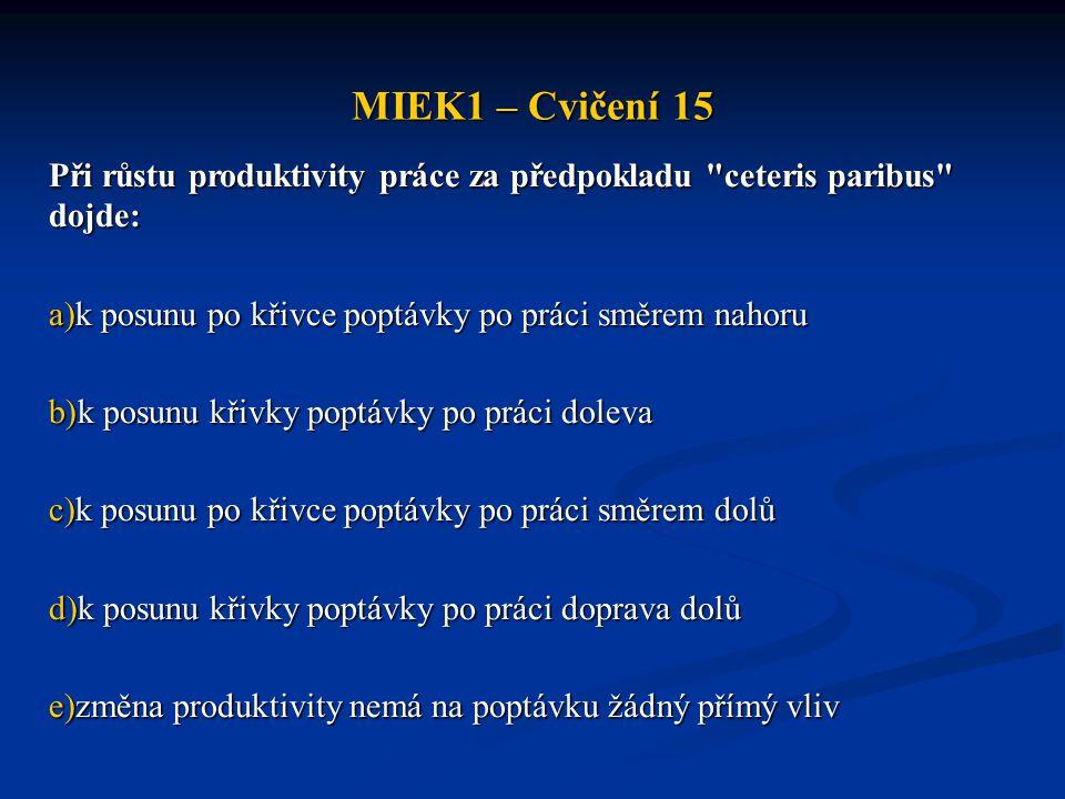 MIEK1 – Cvičení 15 Při růstu produktivity práce za předpokladu ceteris paribus dojde: k posunu po křivce poptávky po práci směrem nahoru.