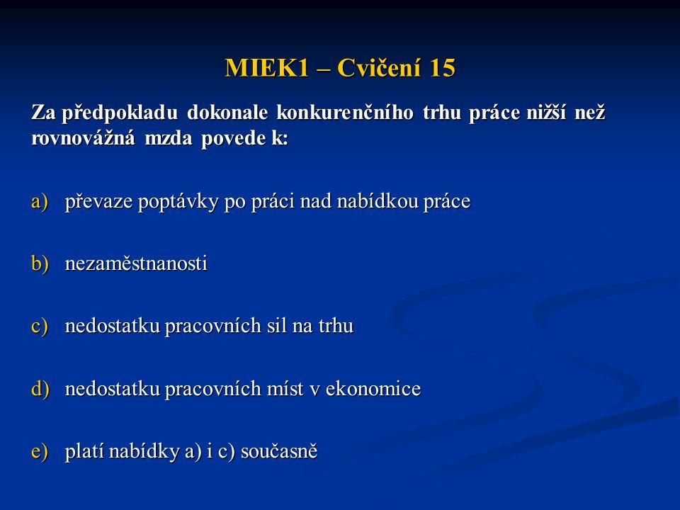 MIEK1 – Cvičení 15 Za předpokladu dokonale konkurenčního trhu práce nižší než rovnovážná mzda povede k: