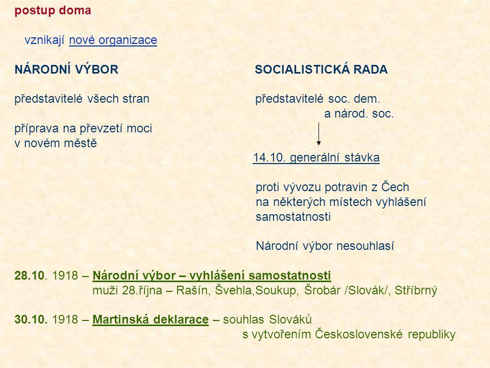 postup doma vznikají nové organizace. NÁRODNÍ VÝBOR SOCIALISTICKÁ RADA.