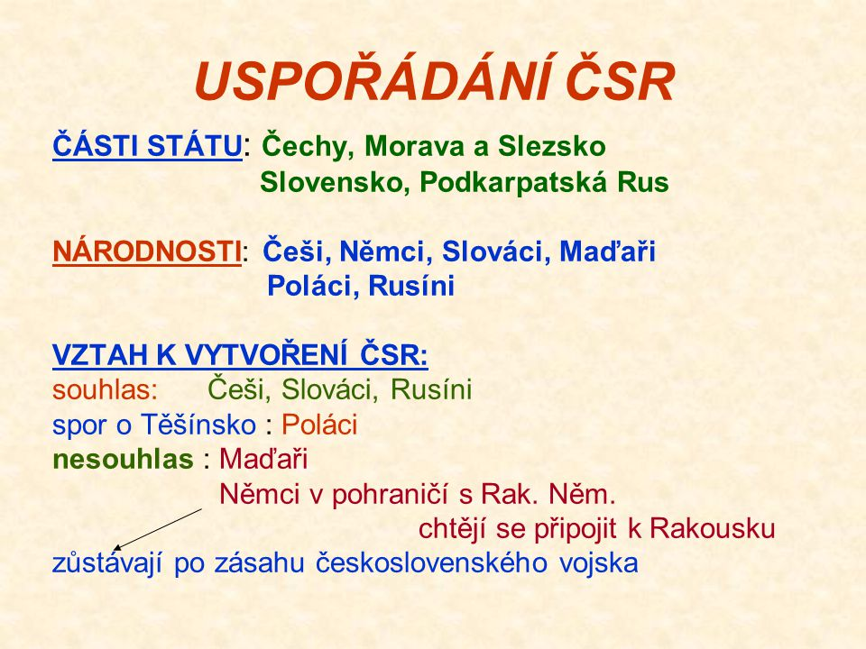 USPOŘÁDÁNÍ ČSR ČÁSTI STÁTU: Čechy, Morava a Slezsko