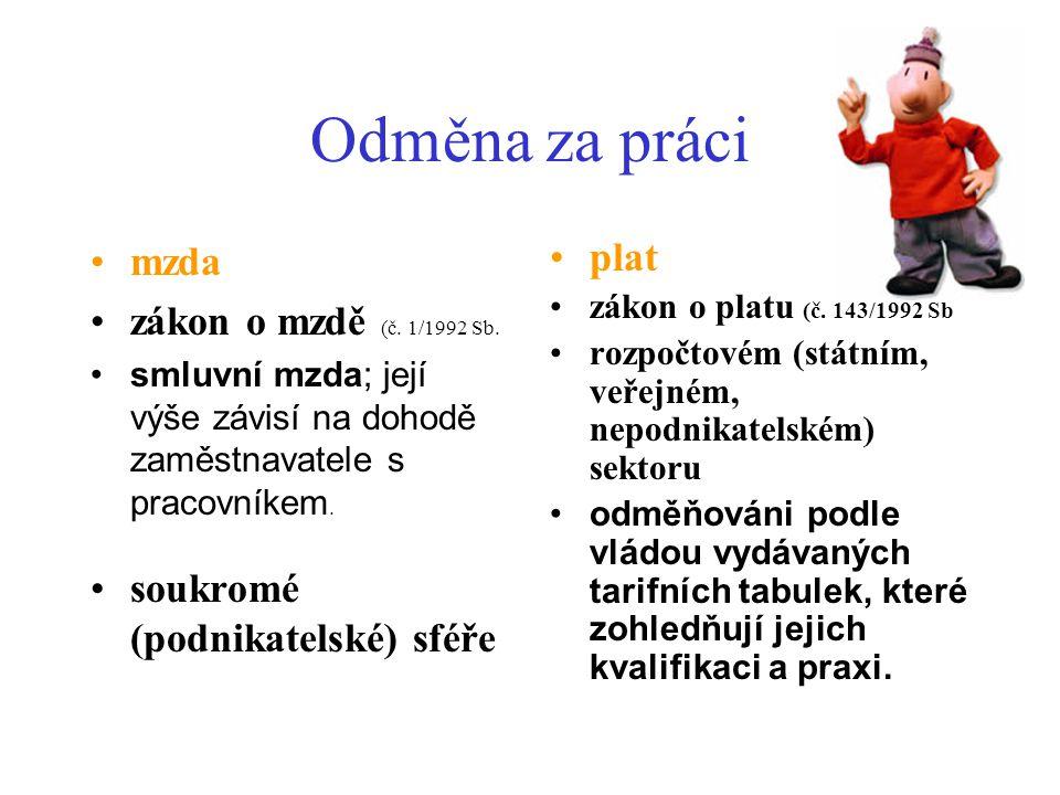 Odměna za práci mzda zákon o mzdě (č. 1/1992 Sb.