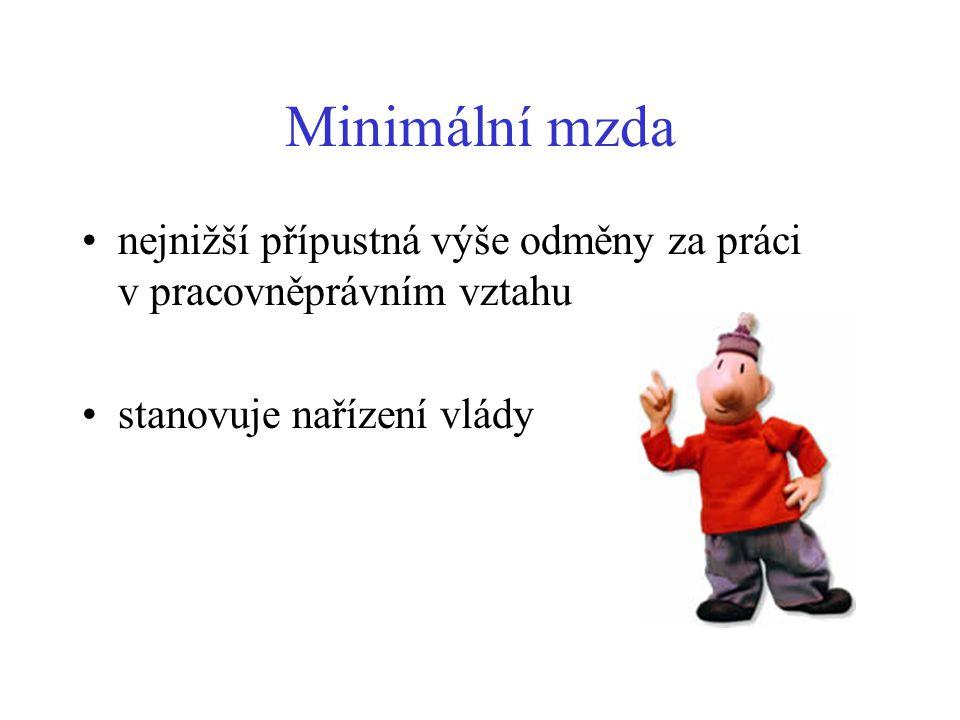 Minimální mzda nejnižší přípustná výše odměny za práci v pracovněprávním vztahu.