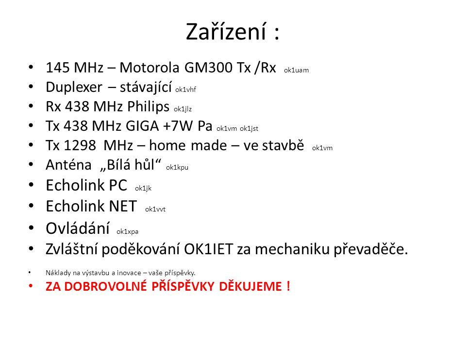 Zařízení : Ovládání ok1xpa Echolink PC ok1jk Echolink NET ok1vvt