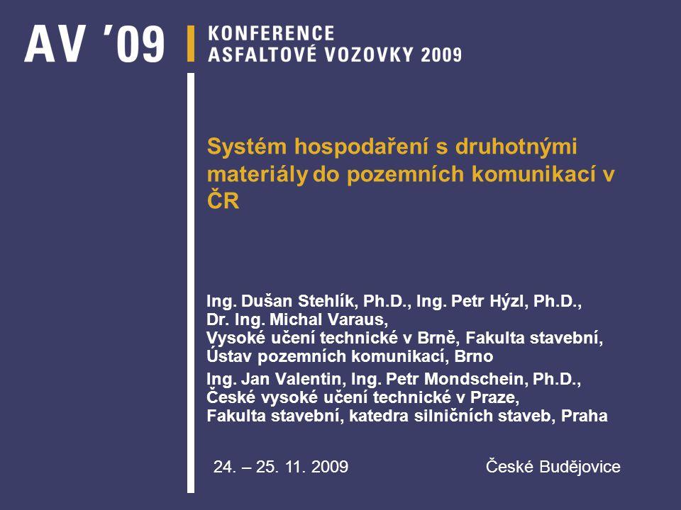 Systém hospodaření s druhotnými materiály do pozemních komunikací v ČR