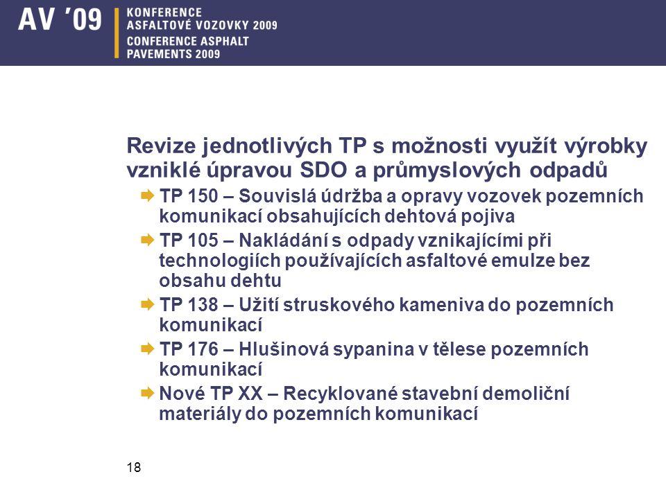 Revize jednotlivých TP s možnosti využít výrobky vzniklé úpravou SDO a průmyslových odpadů