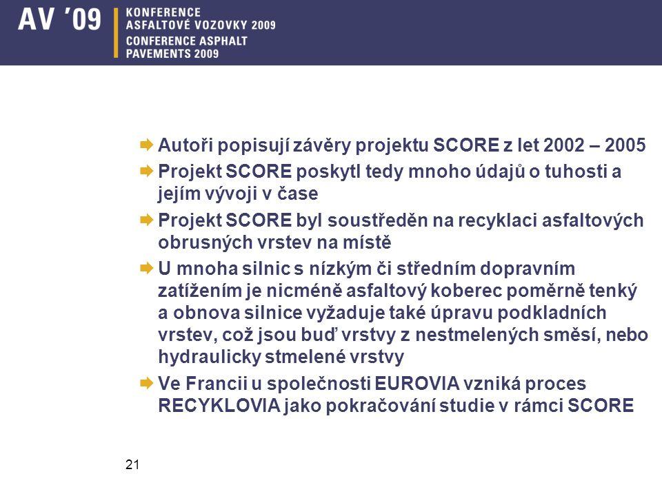 Autoři popisují závěry projektu SCORE z let 2002 – 2005