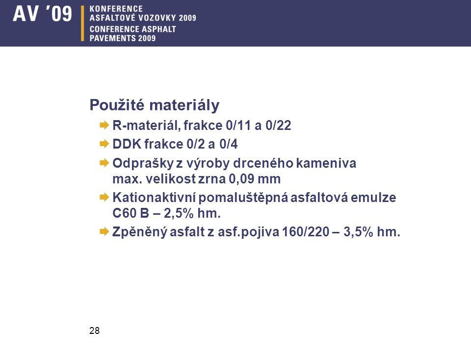 Použité materiály R-materiál, frakce 0/11 a 0/22 DDK frakce 0/2 a 0/4