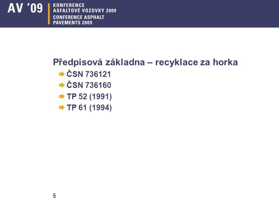 Předpisová základna – recyklace za horka