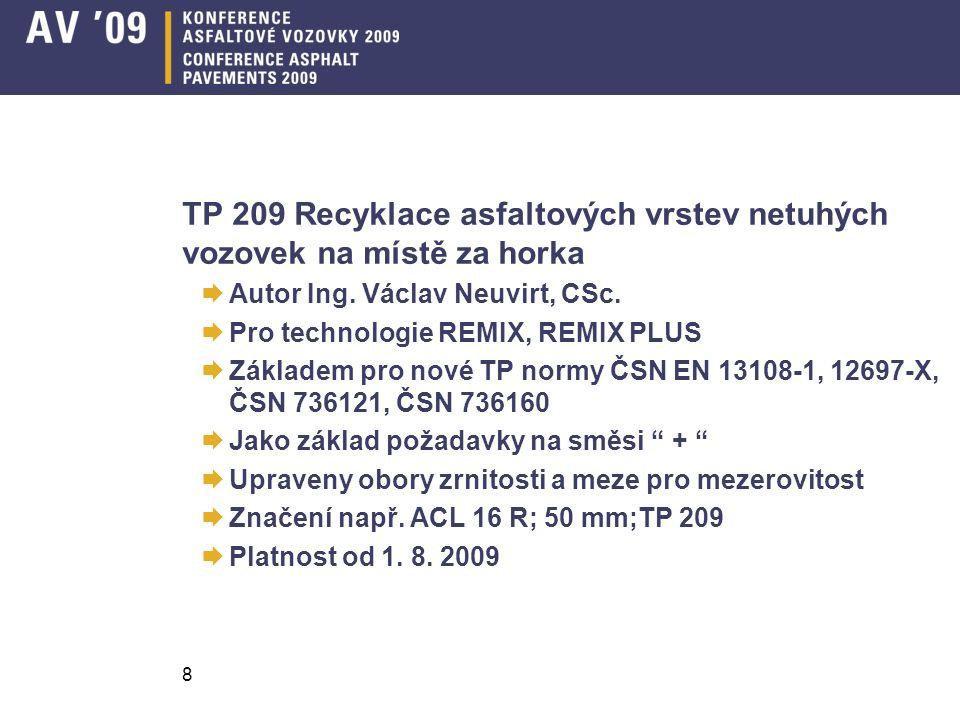 TP 209 Recyklace asfaltových vrstev netuhých vozovek na místě za horka