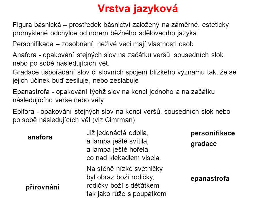 Vrstva jazyková Figura básnická – prostředek básnictví založený na záměrné, esteticky promyšlené odchylce od norem běžného sdělovacího jazyka.