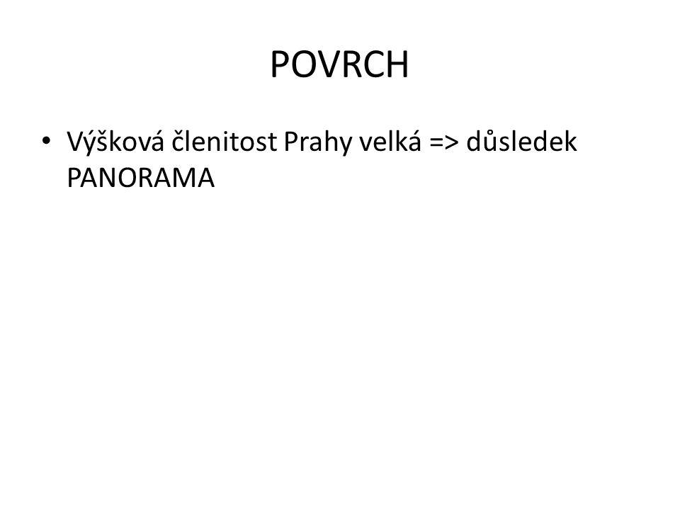 POVRCH Výšková členitost Prahy velká => důsledek PANORAMA