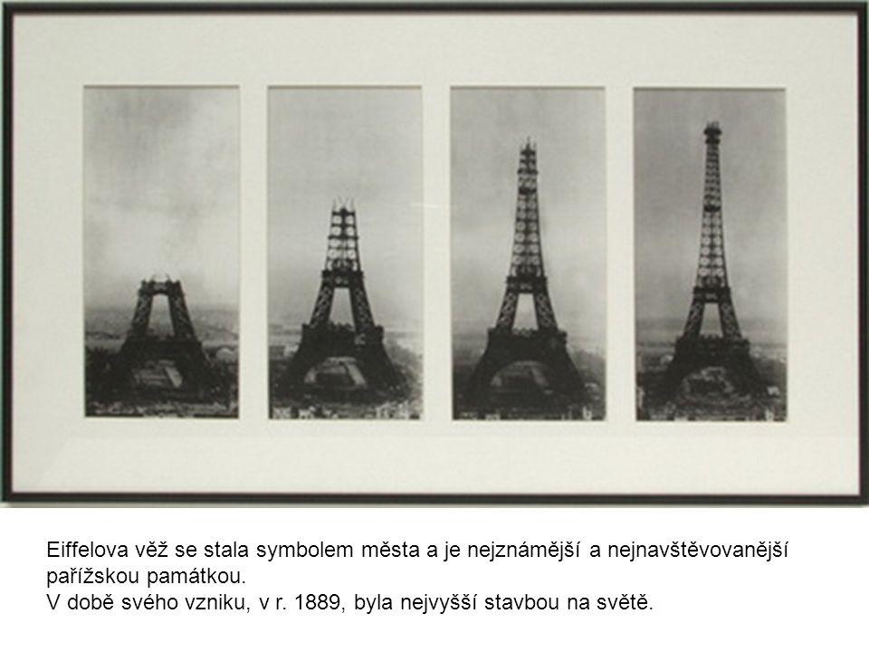 Eiffelova věž se stala symbolem města a je nejznámější a nejnavštěvovanější
