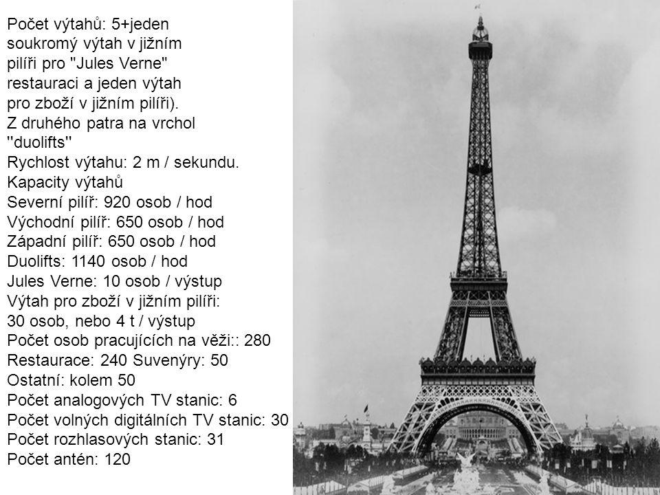 Počet výtahů: 5+jeden soukromý výtah v jižním. pilíři pro Jules Verne restauraci a jeden výtah.