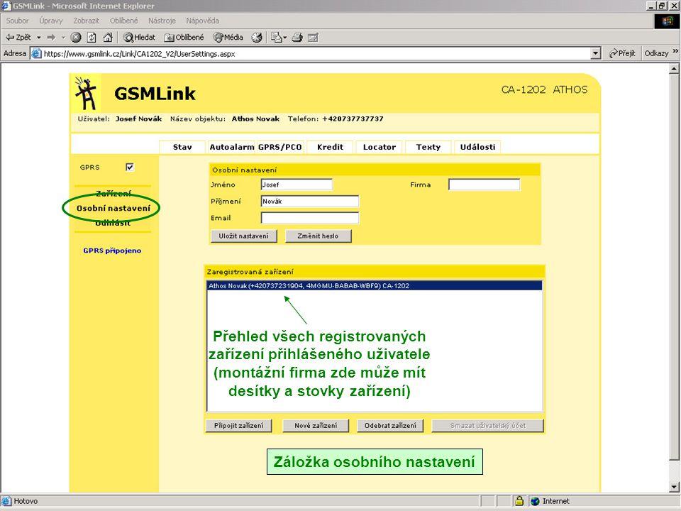 Přehled všech registrovaných zařízení přihlášeného uživatele (montážní firma zde může mít desítky a stovky zařízení)
