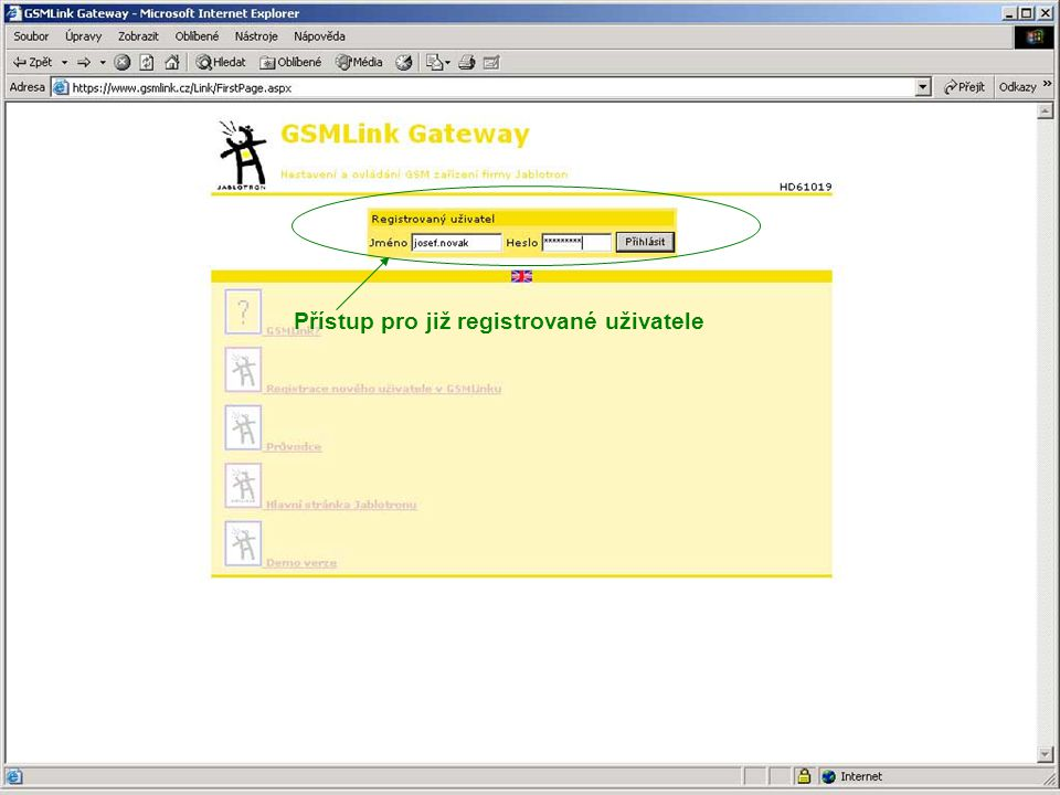 Přístup pro již registrované uživatele