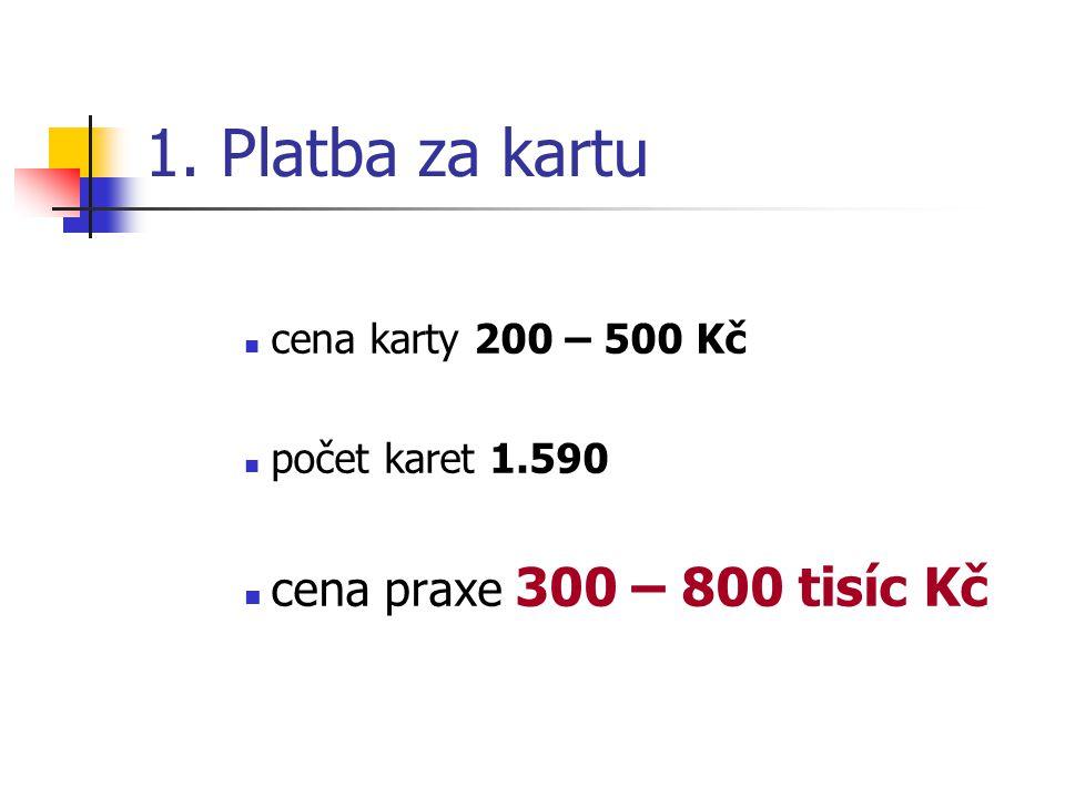 1. Platba za kartu cena praxe 300 – 800 tisíc Kč