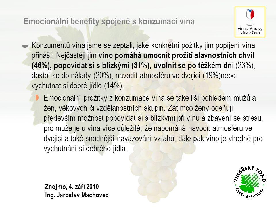 Emocionální benefity spojené s konzumací vína