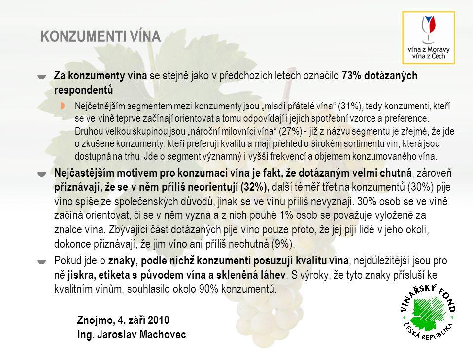 KONZUMENTI VÍNA Za konzumenty vína se stejně jako v předchozích letech označilo 73% dotázaných respondentů.