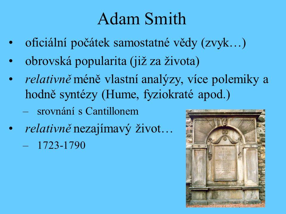 Adam Smith oficiální počátek samostatné vědy (zvyk…)