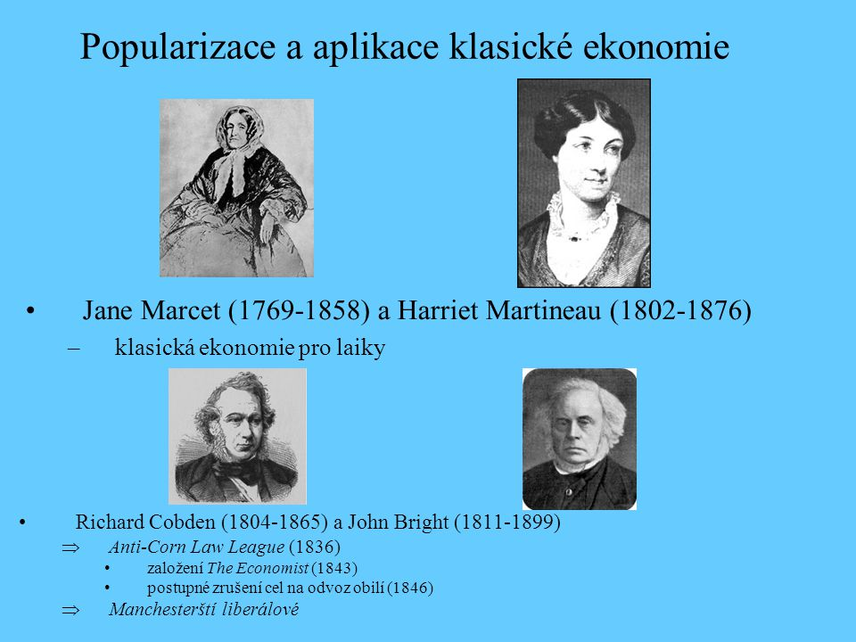 Popularizace a aplikace klasické ekonomie