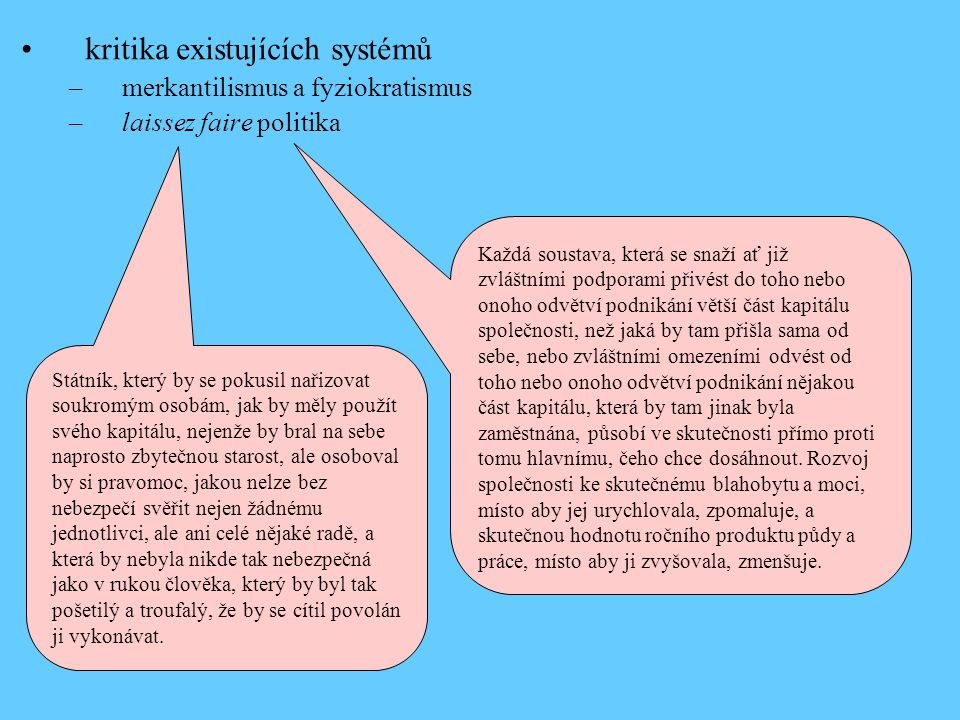 kritika existujících systémů