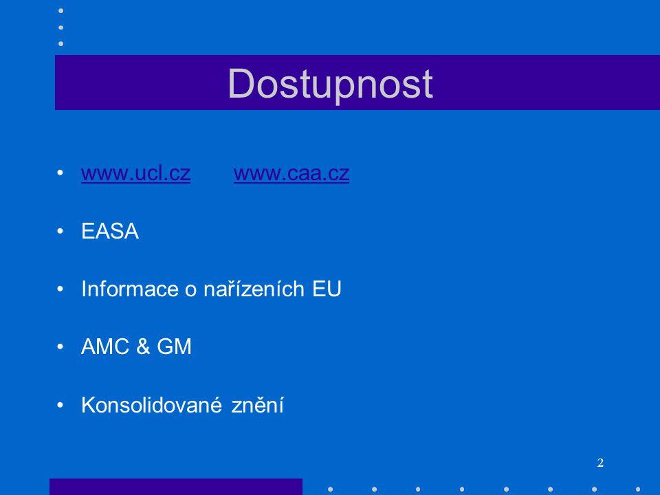 Dostupnost www.ucl.cz www.caa.cz EASA Informace o nařízeních EU