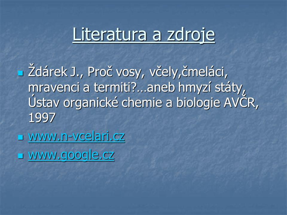 Literatura a zdroje Ždárek J., Proč vosy, včely,čmeláci, mravenci a termiti …aneb hmyzí státy, Ústav organické chemie a biologie AVČR, 1997.