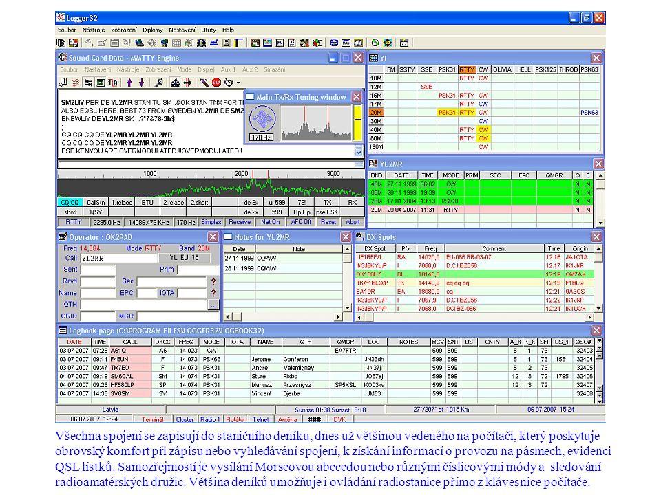 Všechna spojení se zapisují do staničního deníku, dnes už většinou vedeného na počítači, který poskytuje