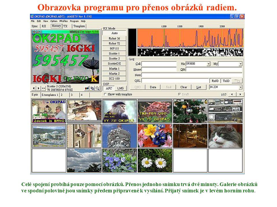 Obrazovka programu pro přenos obrázků radiem.