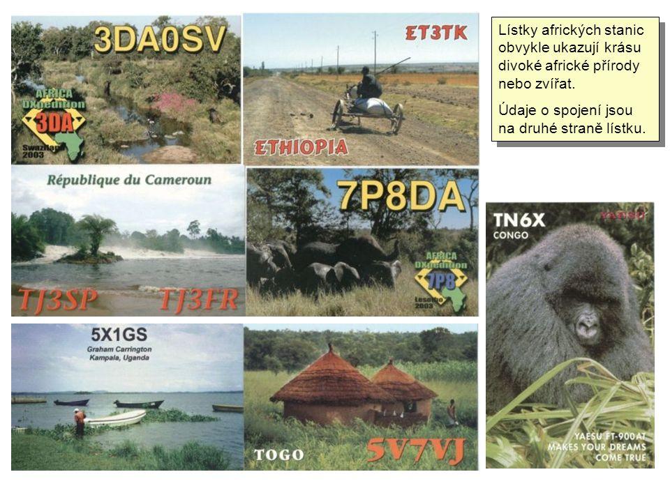 Lístky afrických stanic obvykle ukazují krásu divoké africké přírody nebo zvířat.