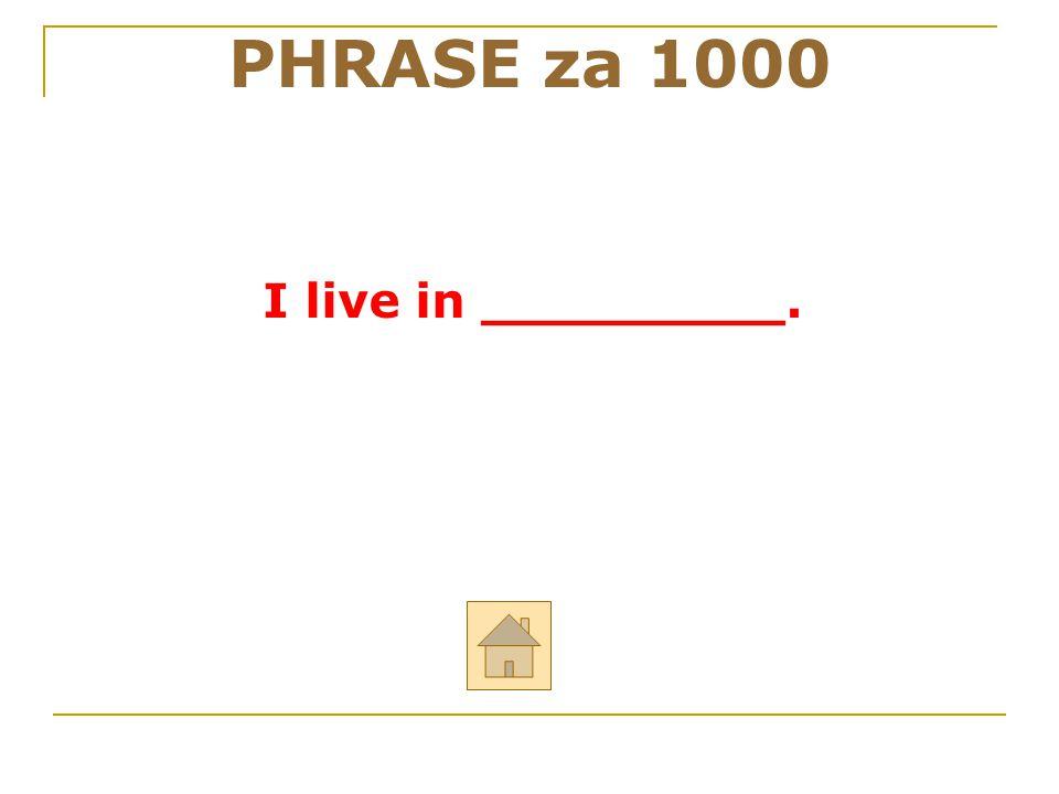 PHRASE za 1000 I live in _________. 44