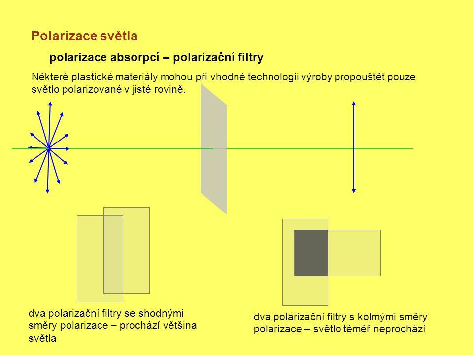 Polarizace světla polarizace absorpcí – polarizační filtry