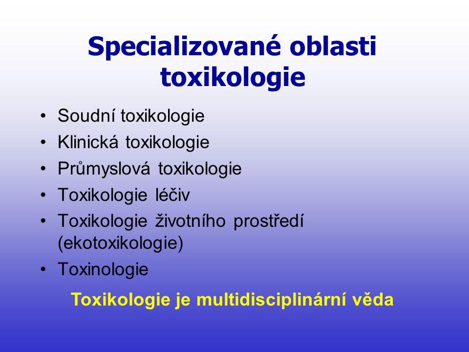 Specializované oblasti toxikologie