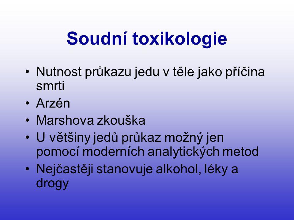Soudní toxikologie Nutnost průkazu jedu v těle jako příčina smrti