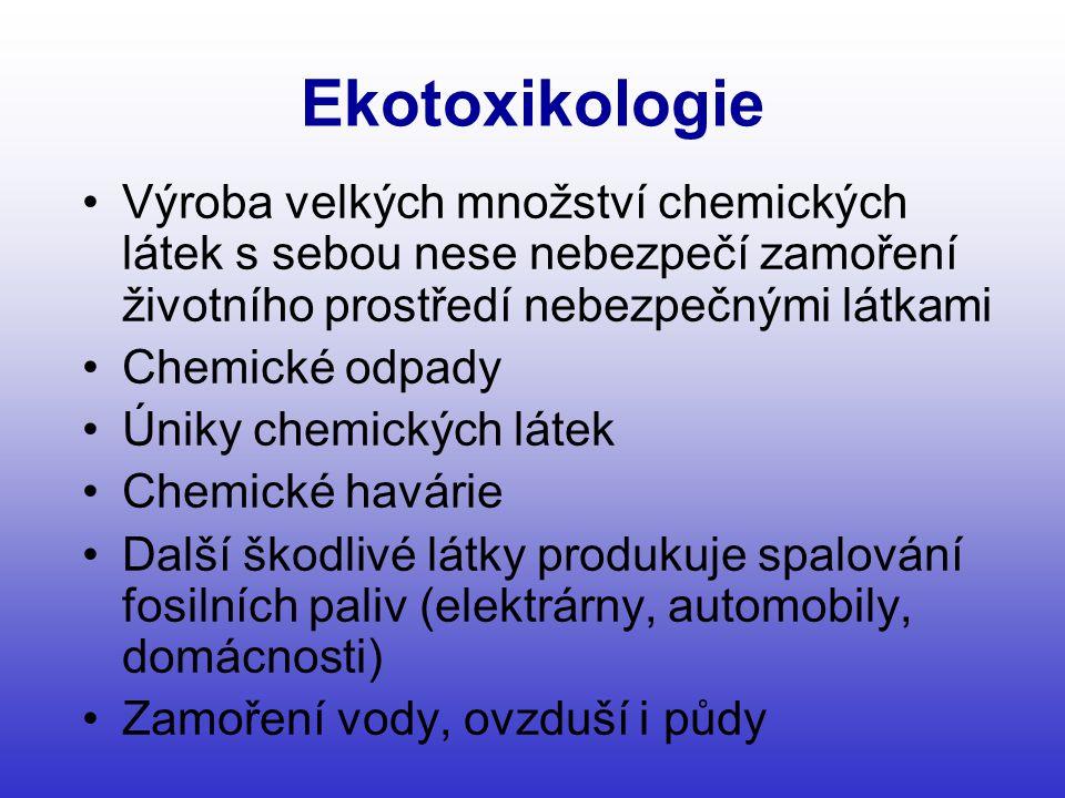 Ekotoxikologie Výroba velkých množství chemických látek s sebou nese nebezpečí zamoření životního prostředí nebezpečnými látkami.
