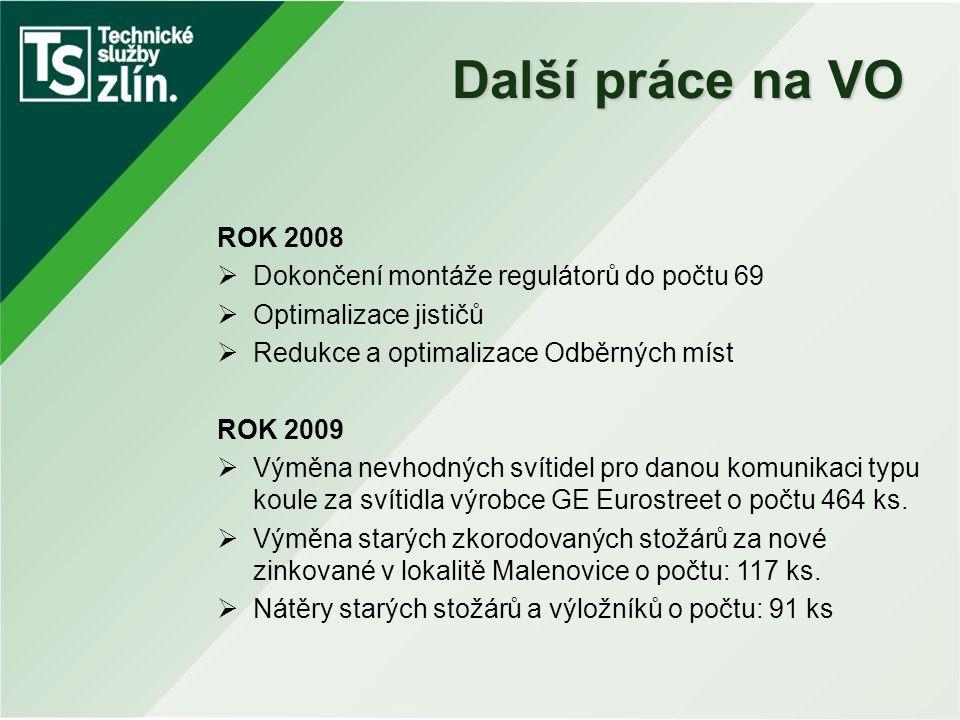Další práce na VO ROK 2008 Dokončení montáže regulátorů do počtu 69