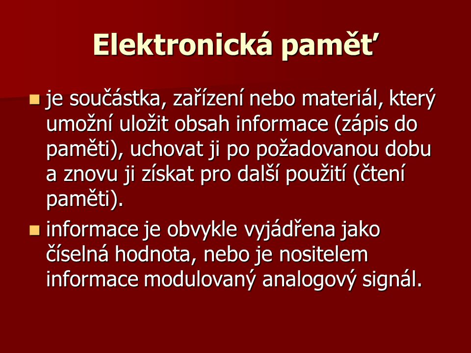 Elektronická paměť