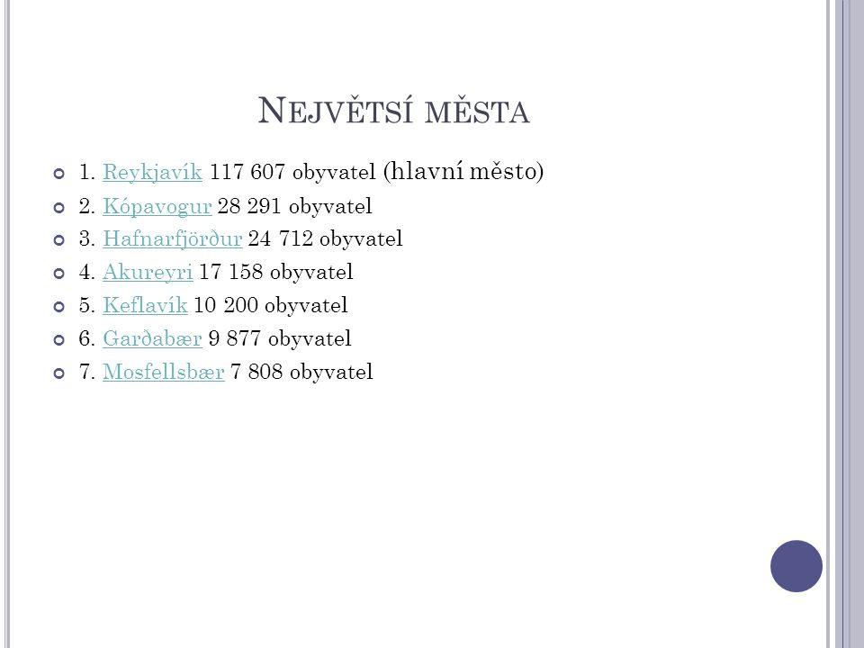 Největsí města 1. Reykjavík 117 607 obyvatel (hlavní město)