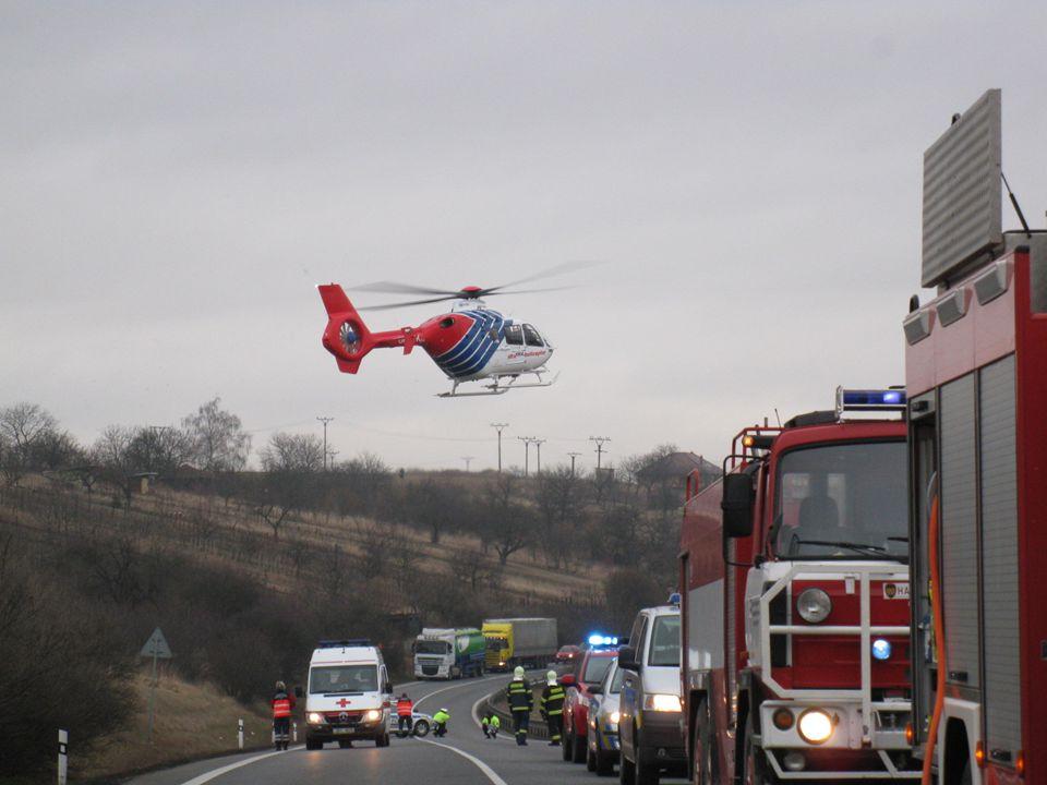 Dopravní nehoda s následným požárem, Bučovice, okr. Vyškov