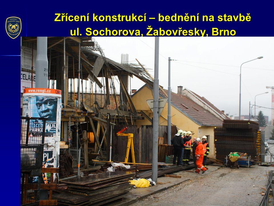 Zřícení konstrukcí – bednění na stavbě ul. Sochorova, Žabovřesky, Brno