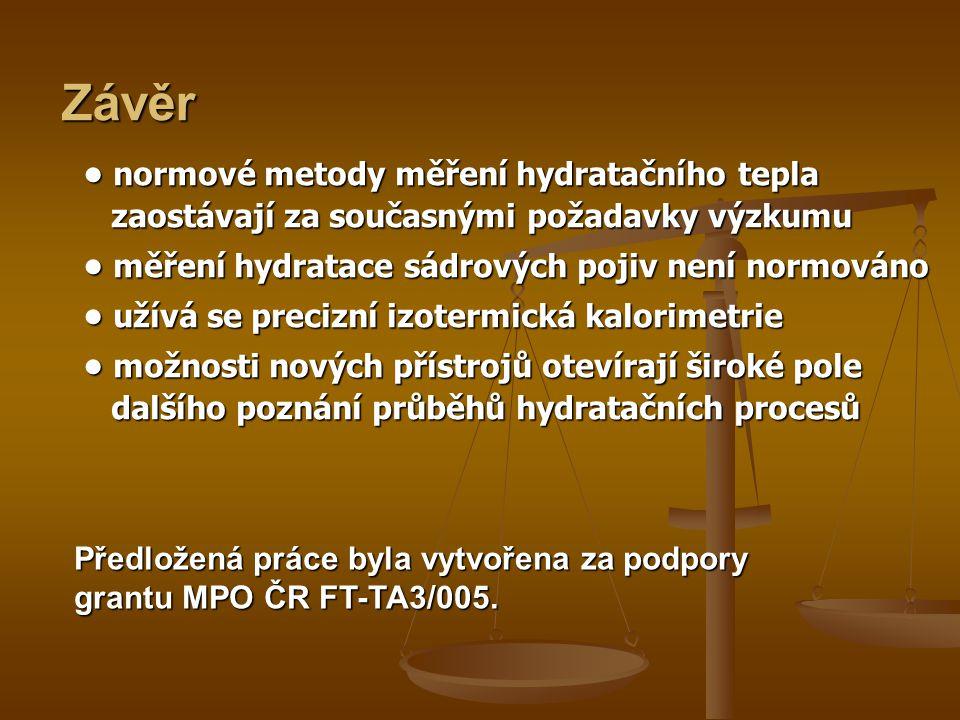 Závěr • normové metody měření hydratačního tepla zaostávají za současnými požadavky výzkumu.